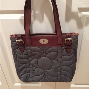 Fossil Quilted Key-per gray nylon shoulder bag